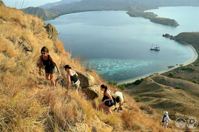 people hiking on the Komodo islands