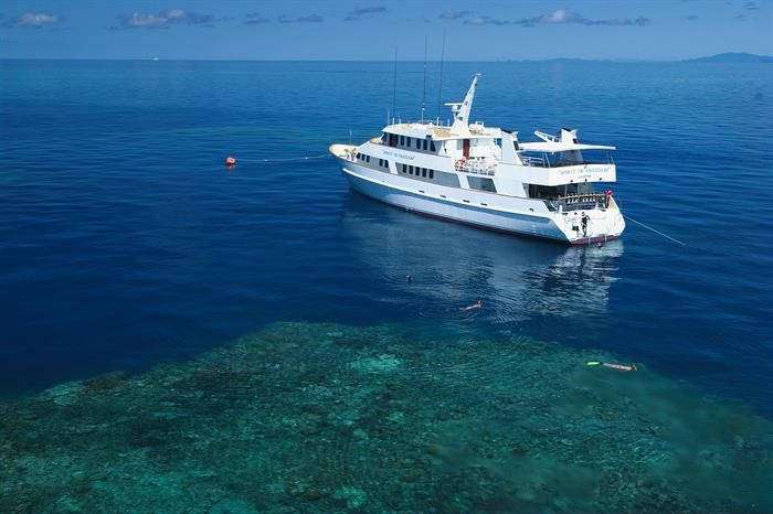 spirit of freedom moored on the great barrier reef
